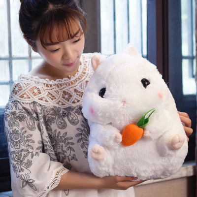 lovely white hamster plush doll ,hug carrot, hamster toy throw pillow home decoration birthday gift h2836