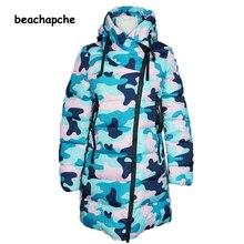 Зимняя куртка женщин Вниз и Парки 2016 Новая Мода Большой Бренд Случайные SlimStand-collacamouflage Женщина Теплая Вниз Плюс Размер