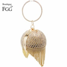 hot deal buy golden crystal diamond tassel women evening wedding party bridal wristlets handbag metal clutches purse hardcase ball clutch bag