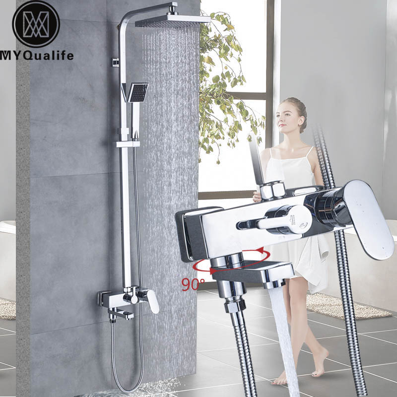 Chrome Bath Shower Faucets Set Bathtub Mixer Faucet Rainfall Shower Tap Bathroom Squrae Shower Head Exposed Shower Mixer Tap traditional faucet chrome thermostatic bathroom faucets plastic handshower dual holes shower mixer tap