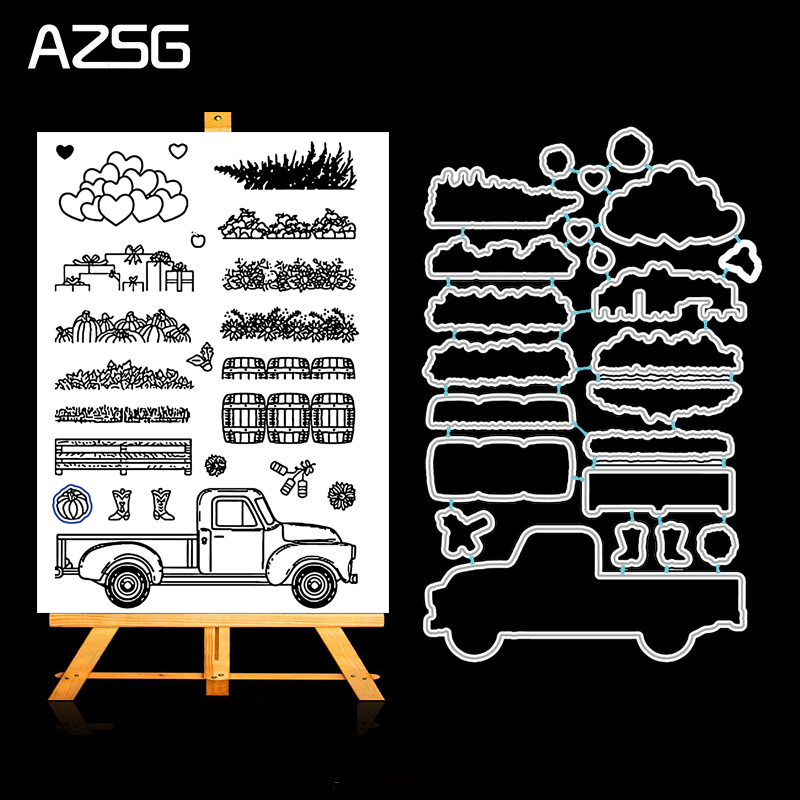 AZSG Farm Harvest Goods Metal Cutting Dies Clear Stamp Set