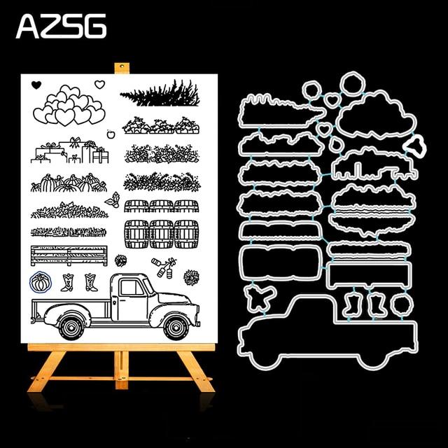 AZSG חוות קציר מוצרים מתכת חיתוך מת וברור חותמת סט עבור DIY רעיונות אלבום תמונות Decoretive הבלטות Stencial