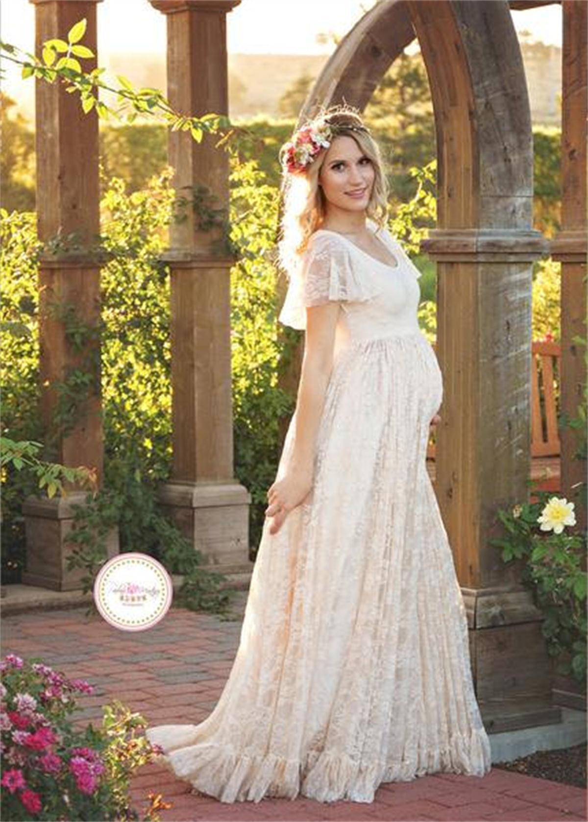 5029f1c6117dd DO DOWER Lace maternity dress embarazad maxi dresses shoot elegant clothes  mother white long dresses women plus Size costume