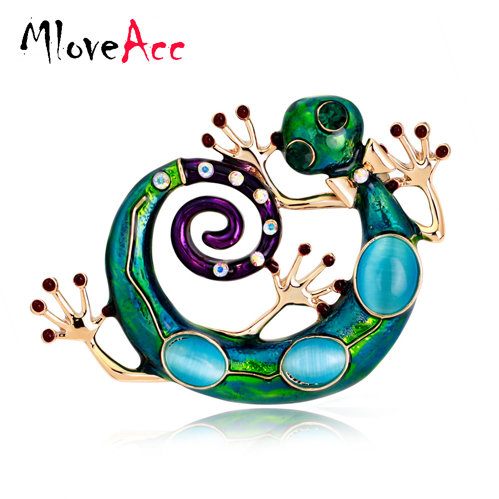 MloveAcc Blue Enamel Lizard Gecko Snake Brookhes for Women Corsage Diamante Embellishments Kihen Broach Coroa Relogio Femini