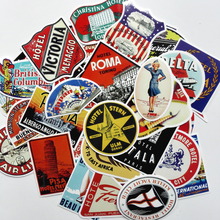55pcs mixed 2018 Style Travel Hotel Sticker Laptop Tablet Trolley Luggage Suitcase Skateboard Personalized Retro Stickers
