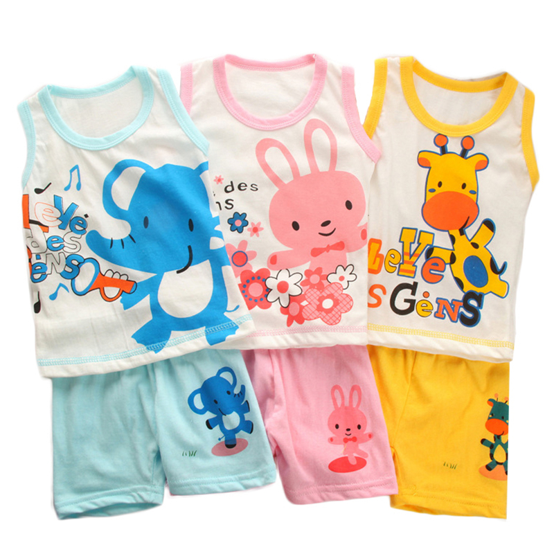 Little J 2pcs Cartoon Boys Clothes Sets Summer Children's Sweatshirt Sleeveless T-Shirt Short Pant Girls Vest Baby Clothing tees