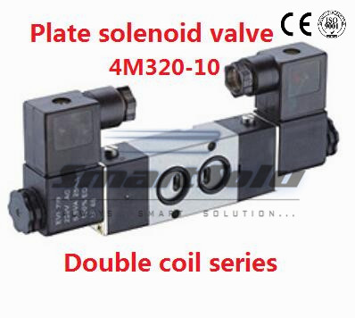 Free shipping pneumatic valve for air 24v dc plate mounting 4M320-10 Port 3/8 inch 5 way control valve with plug double coil free shipping high frequency valve vt307 5g 02 with 3 port 1 4 port electromagnetic valve pneumatic component vt series