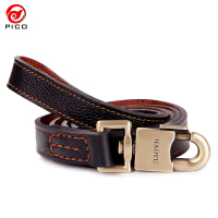 High Quality Width 2 5cm Leather Big Dog Harness Retro Bronze Interface Small Pet Dog Leash