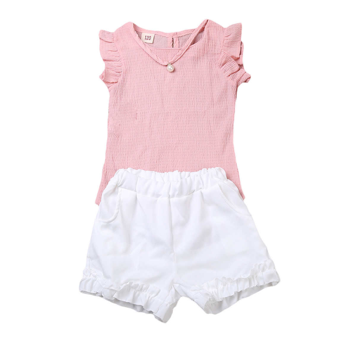 2pcs Children Kids Baby Girls Outfit Sets Chiffon T-shirt Tops Shorts Sleeveless Summer Outfits Suit Cute Girls Clothes Sets
