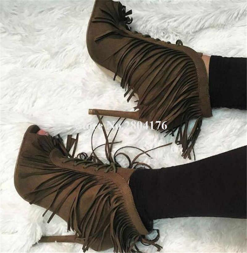 Kobiety urocze Peep Toe zamszowe skórzane szpilki krótkie frędzle Gladiator buty Lace-up frędzle wysoki obcas botki sukienka obcasy