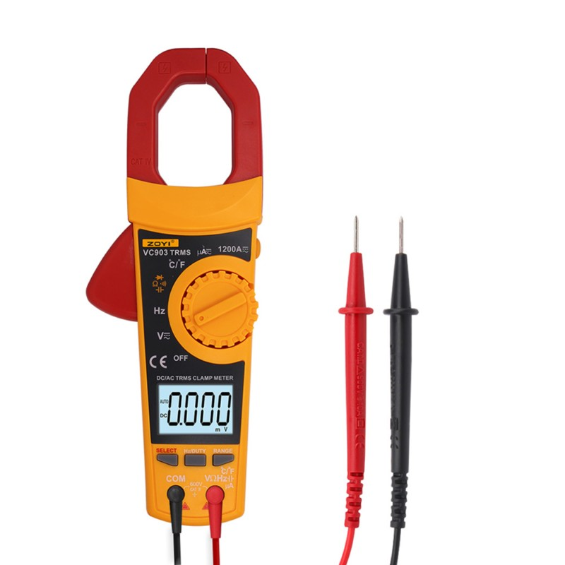 ZOYI VC903 Portable Digital Clamp Meter 6000 Counts 1000A AC Clamp Meter Resistance Capacitance Temperature Digital Multimeter mastech ms2015b 6600 counts 1000a ac clamp meters w capacitance frequency temperature