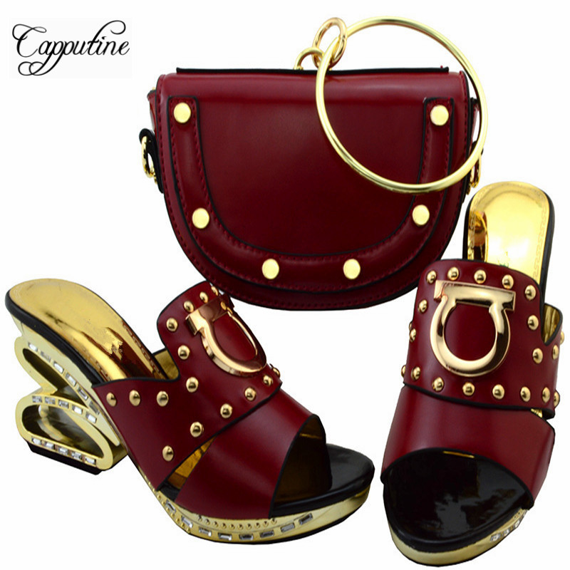 Capputine Italian Shoes And Matching Bag Set Fashion Summer Style Ladies Middle Heels Shoes And Bags Set For Party Wine YM0031  africa style pumps shoes and matching bags set fashion summer style ladies high heels slipper and bag set for party ths17 1402