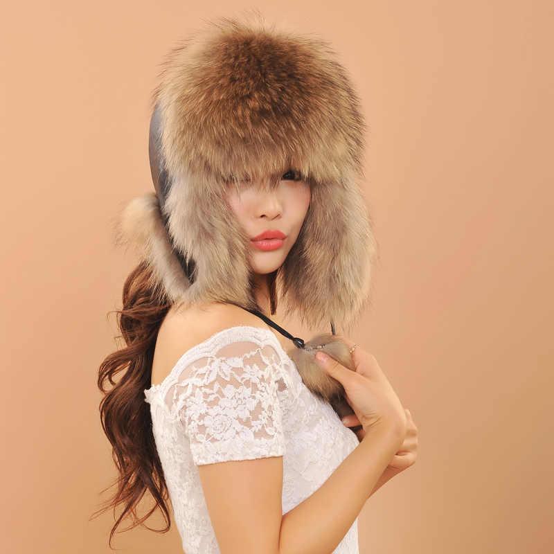 Женские зимние шапки ушанки для женщин лиса Мех животных шляпа модные теплые пояса из натуральной кожи шапки