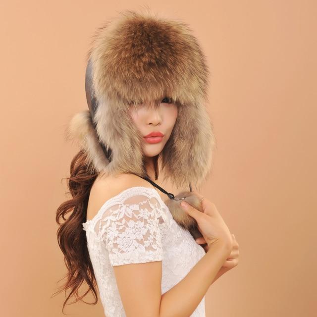 Ladies winter hats ear flaps women fox fur hat fashion warm Genuine leather caps