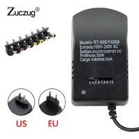 Трансформатор освещения 3 в 6 в 9 в 12 В вольт универсальный адаптер питания мульти светодиодный кабель Конвертор питания 7 штекеров адаптеры ...
