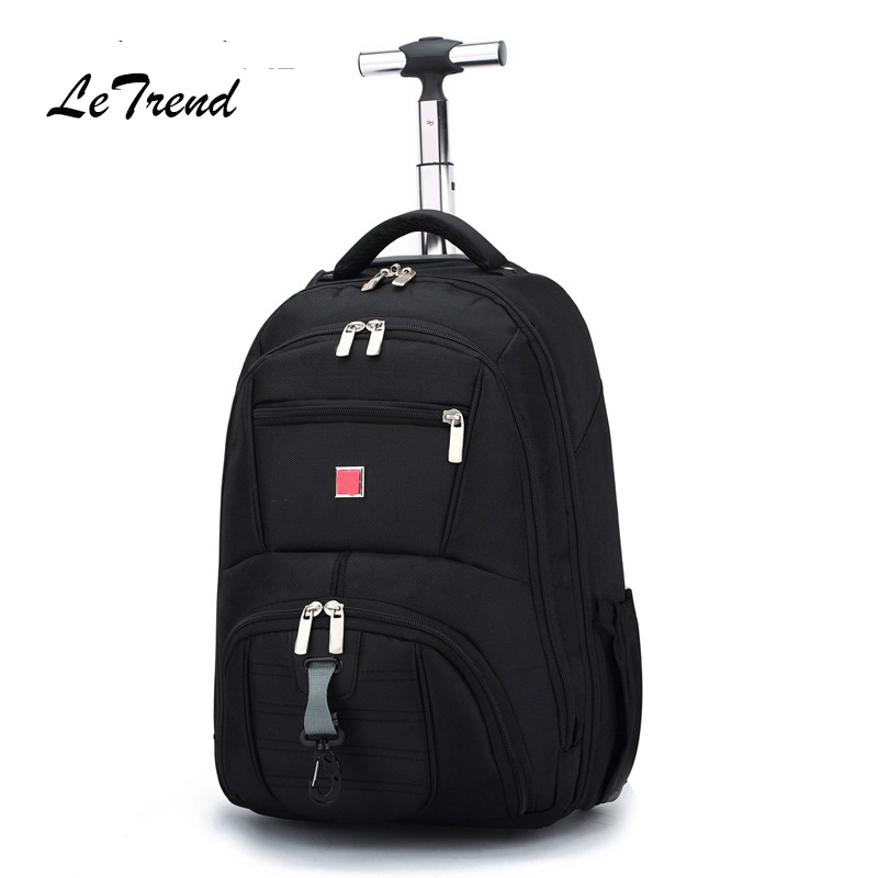 Letrend Business Oxford Travel Bag Men Large Capacity Backpack Women Rolling Luggage Trolley Case Carry On Wheels Suitcase image