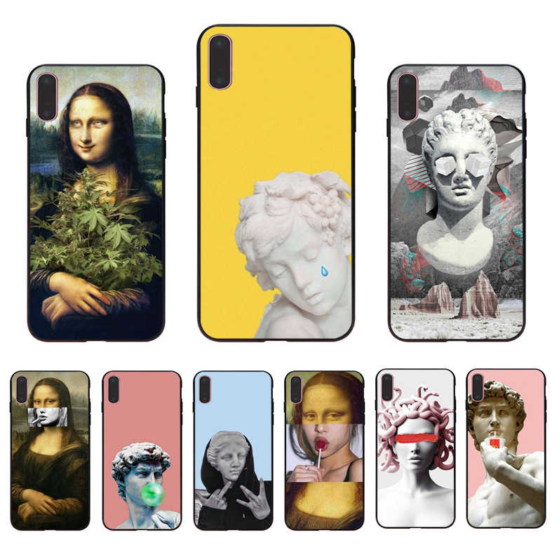Alternative statue art Pattern Soft silicone Half-wrapped Transparent Phone Cell Case for iPhone7 8 6 6Splus X Xs Xr XsMax Cover