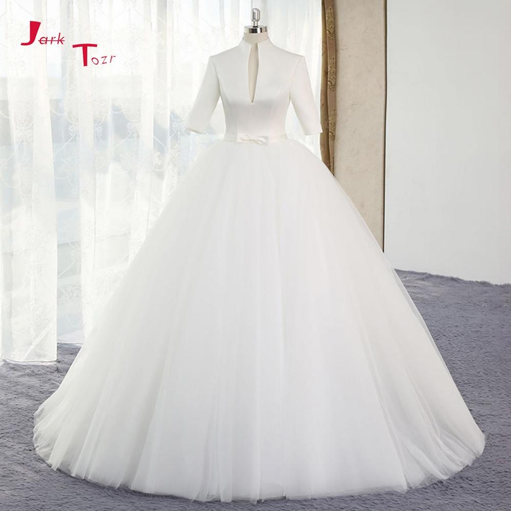 Col haut robes de mariée simples 2019 demi manches Vestido de Noiva Satin corsage Abiti da Sposa blanc Tulle jupe Robe de Mariage