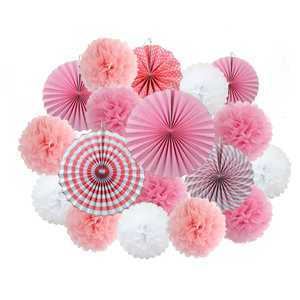 Baby Girl Boy Baptism Decor Pink 18pcs/Set Hanging Paper Crafts Kids Birthday Party Favor Paper Pompom Wedding Ornaments(China)
