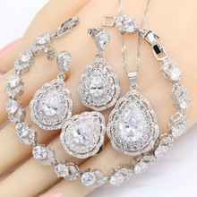 Christmas Gift Water Drop White Cubic Zircnoia 925 Silver Jewelry Sets Women Bracelet Earrings Necklace Pendant Rings