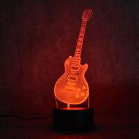 Led 3D Wizualne Kolorowe USB Lampa Stołowa Lampora Śpiącego Dziecka Lampka nocna Lampa Kreatywny Moda Muzyka Gitara Elektryczna Wystrój Prezenty