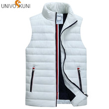 UNIVOS KUNI Men's Sleeveless Vest Homme 겨울 캐주얼 코트 Male 면-Padded 농축 Vest Men 양복 Plus Size 5XL Q5123(China)