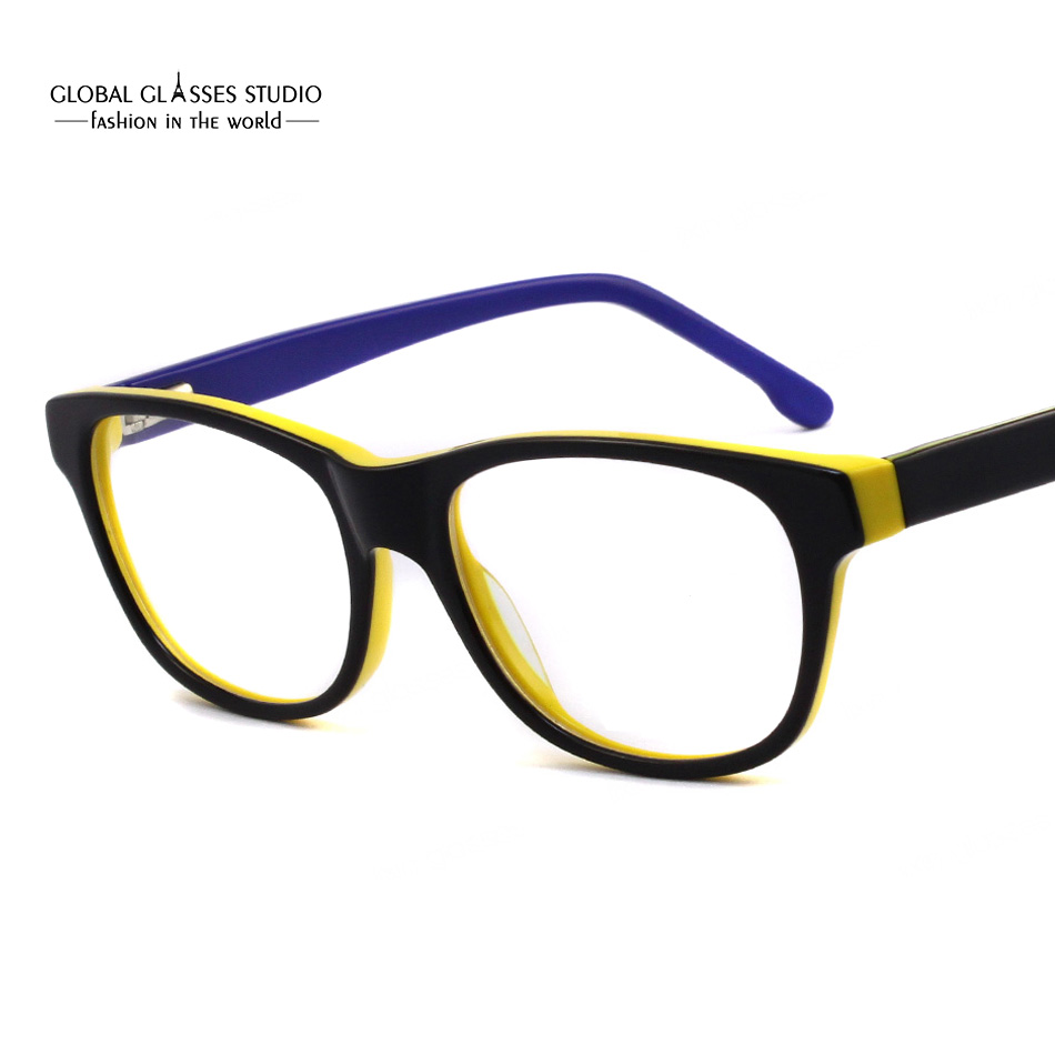 81f638725b7 Colorful Young Cool Unisex Fashion Design Prescription Glasses Frame Clean  lens Acetate Eyeglasses Optical Eyewear 51BG24011-in Eyewear Frames from  Men s ...