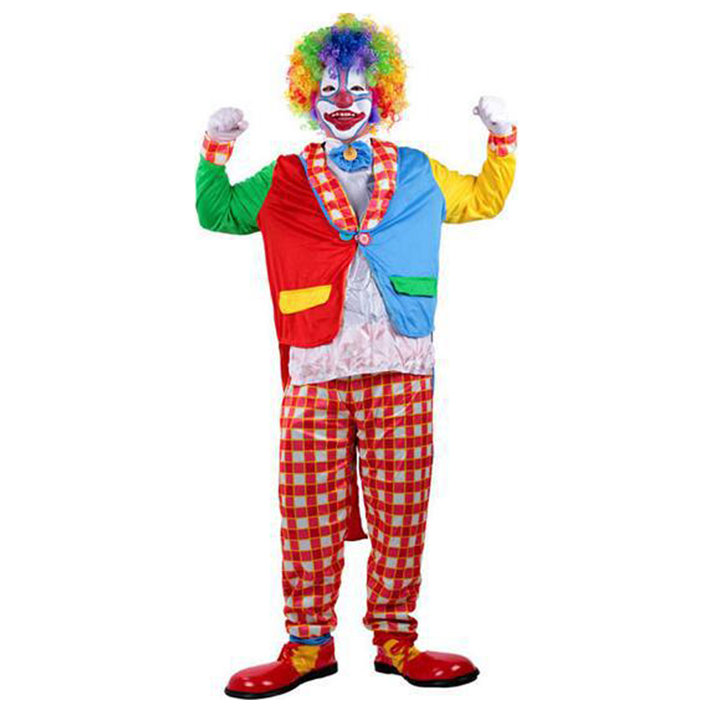 Holiday Funny The Clown Costume Adult Woman Man Joker Costume Halloween Cosplay Party Dress Up Clown Full Suit Costumes