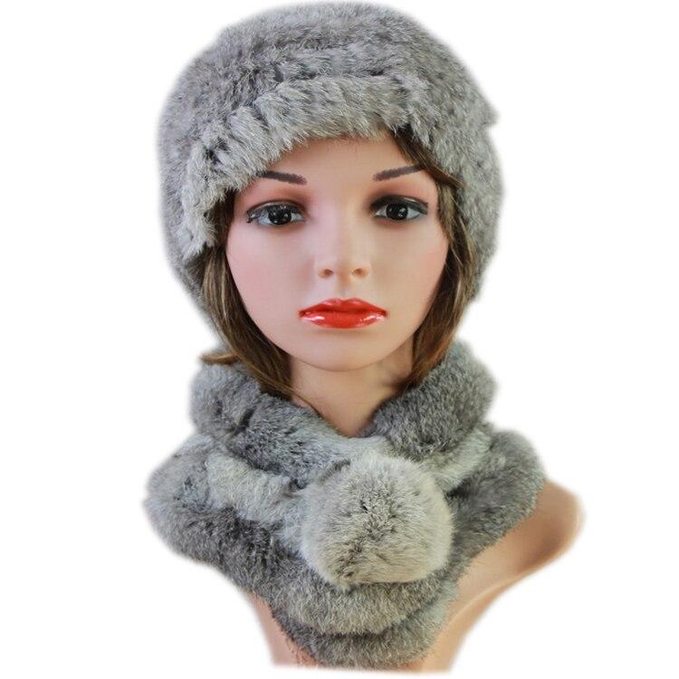 Harppihop Women Real Rabbit Fur Hats Scarves Sets 2018 New  Genuine Rabbit Fur Hat Scarf Set Real Fur Hat Fur Scarf Hat Suits