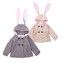 2016 New Arrival Autumn Winter Thick Coat Overcoat Baby Girls Clothing Rabbit Jacket Hooded Trench Coat Outwear Age 1-6Y