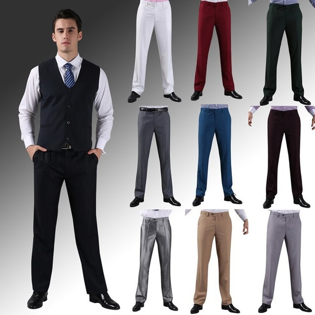 898a631c3d Summer Suit Pants Men Business Casual Thin Straight Pants Work Trouses  Anti-wrinkle Easy care Dress Pants Big Size 40 42 44