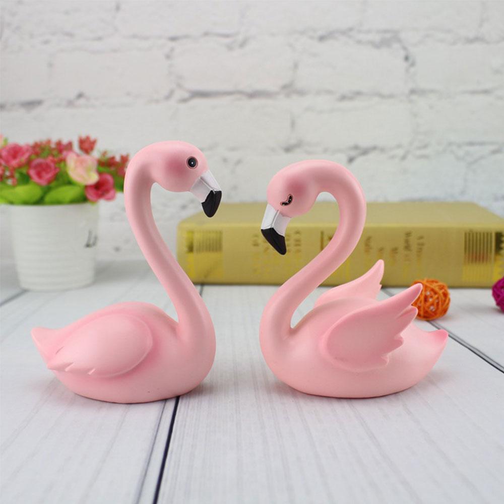 ZLJQ Pink Flamingo Resin Cake Topper Natural Feather Cake Decorating ...