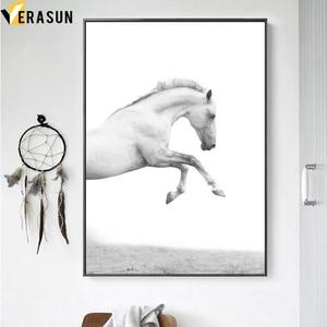 Image 3 - أسود أبيض الحصان المشهد الرسم على لوحات القماش الجدارية الشمال الملصقات و يطبع الحيوان جدار صور لغرفة المعيشة ديكور المنزل