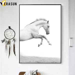 Image 3 - Black White Horse Landscape Wall Art Canvas Painting Nordic Posters And Prints Animal Wall Pictures For Living Room Home Decor