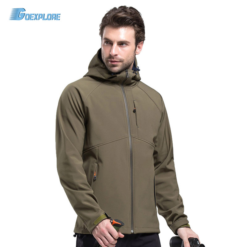 Goexplore Softshell Jacket Men Brand Waterproof Rain Coat Outdoor Hiking Clothing male Windproof Soft Shell Fleece Jackets lurker shark skin soft shell v4 military tactical jacket men waterproof windproof warm coat camouflage hooded camo army clothing
