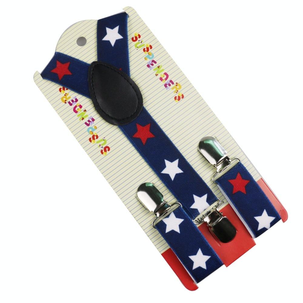 Winfox New Fashion Adjustable Boys Toddler Navy Blue Star Print Suspenders Braces For Children Kids