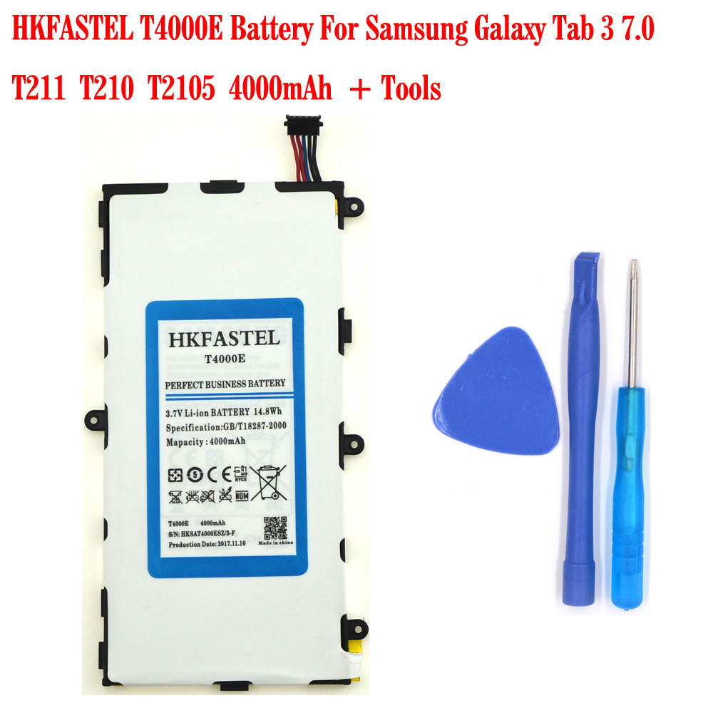 HKFASTEL New Original <font><b>T4000E</b></font> Battery For Samsung Galaxy Tab 3 7.0/T211/T210/T2105 4000mAh Free tools image