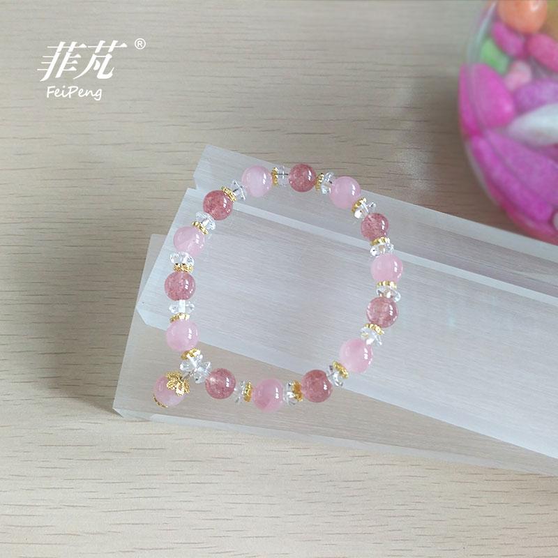 Offre spéciale nouveau Design fraise rose cristal Bracelet 925 en argent Sterling à la mode/doux travail manuel bijoux à bricoler soi-même pour les femmes fille cadeau