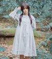 Mori chica estilo vintage princesa lolita dress lindo peter pan collar puff manga ruffles vestidos casuales lindo delantal