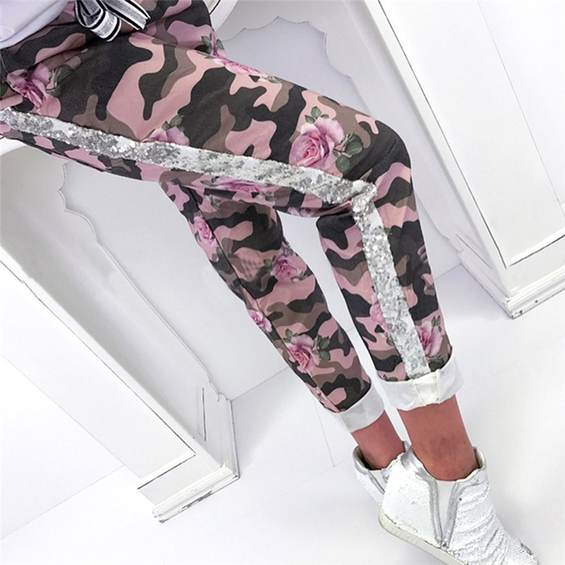 Fashion Womens Pants 2018 New Arrival Comfortable Sequins Camouflage Print Bandage Patchwork Mid Waist Long Pants Trousers F#J12 (16)