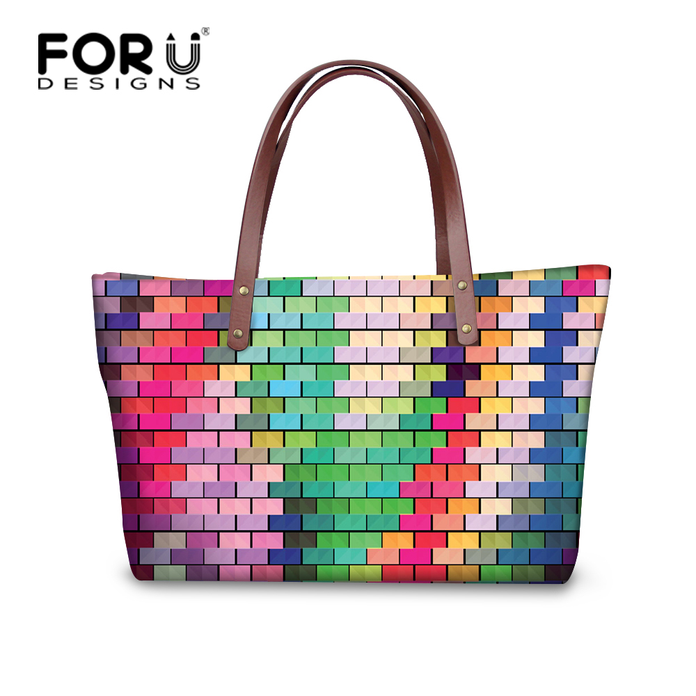 FORUDESIGNS Colorful Designer Shoulder Bag Lady Large Capacity Tote Bags Women Daily Use Shopping Bag Female Casual Handbag women handbag shoulder bag messenger bag casual colorful canvas crossbody bags for girl student waterproof nylon laptop tote