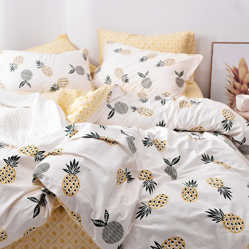 e86089afaaa7 Spring and Summer 100% Cotton Pineapple Duvet Cover Set Twin Queen King  Size Bedding Sets Yellow Bed Sheet Pillow Case For Adult-in Bedding Sets  from Home ...
