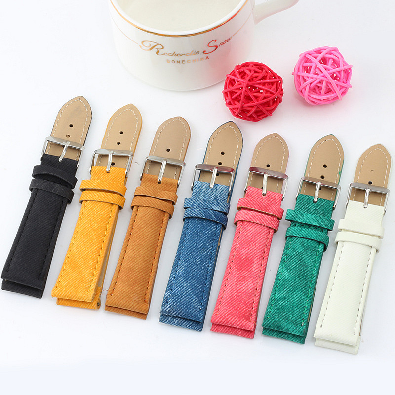 7 Color Fashion Simple Cowboy Leather Strap 20 Mm Men Women Wristwatches Watchbands