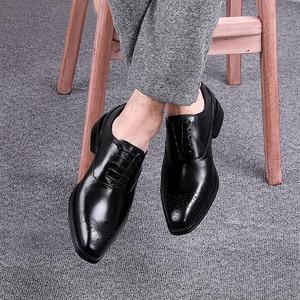 Image 5 - Men Genuine Cow Leather Brogue Wedding Business Mens Casual Flats Shoes 2020 Black Burgundy Vintage Oxford Shoes For Mens Shoe
