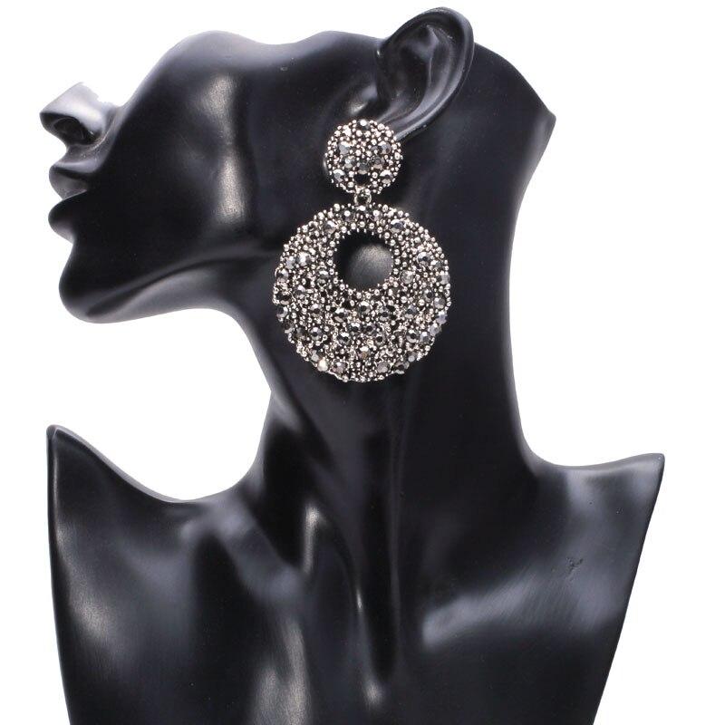 Glänzende hohle runde große Baumel-Kristallohrringe Einzigartiger - Modeschmuck - Foto 2