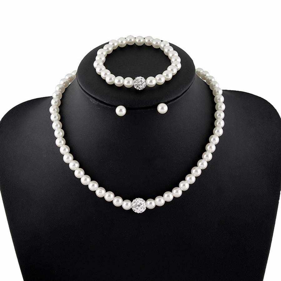 האופנה החדשה AAA קריסטל עגילי שרשרת סטי תכשיטי פניני חיקוי לנשים חרוז כדור צמיד כלה מתנת חתונה