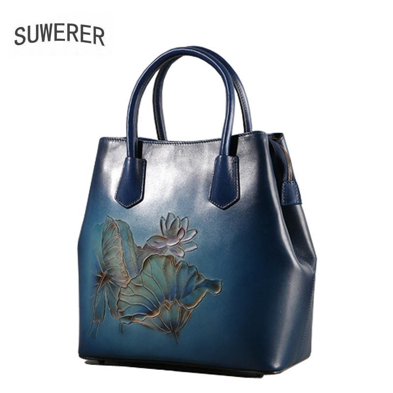 SUWERER 2018 New women bag Superior cowhide women Genuine Leather bags luxury Hand carved Flowers designer top Leather Art Bags suwerer women genuine leather bags 2018 new fashion handmade drawing plum flower top cowhide luxury designer women leather bags
