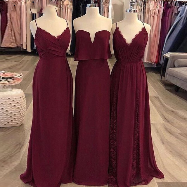 Elegant Spaghetti Straps Chiffon bridesmaid dress Long Dress for Wedding Party Woman burgundy dresses