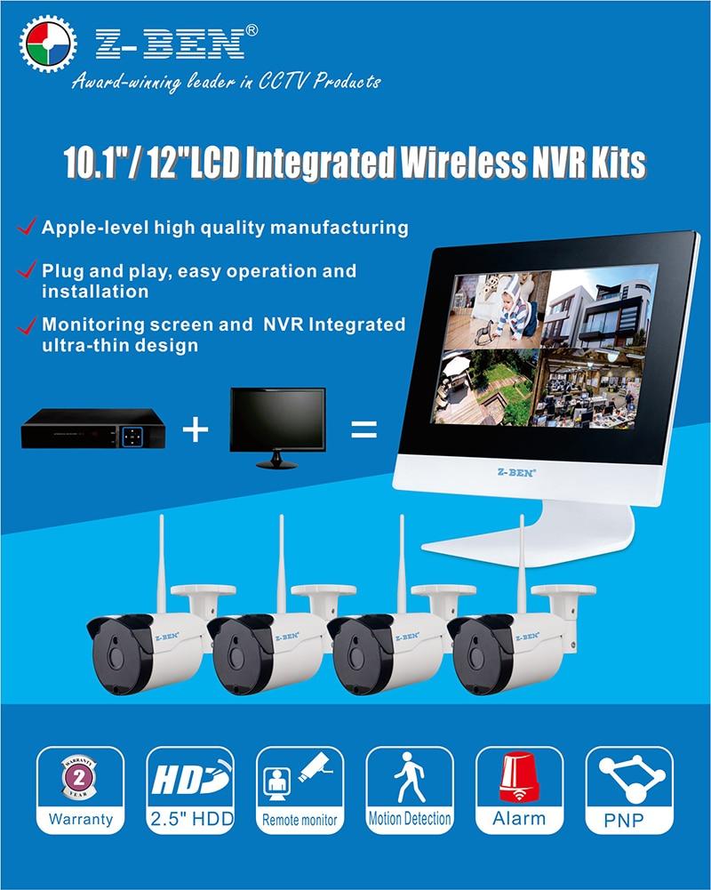 ZB-WKM604 KIT DE Vigilancia Inalámbrica 2.4G 4CH 4 Cámaras IP WIFI - Seguridad y protección