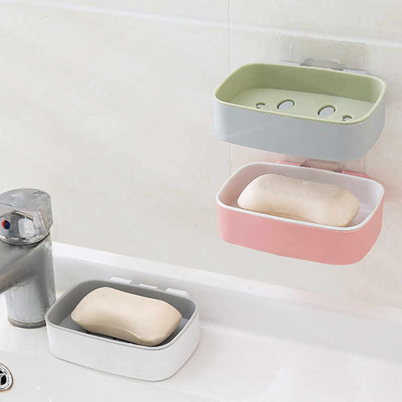Punch-free Magic Seamless Wall Sticker Smile Drain Soap Box Bathroom Shelf soap dishe soap tray holder bathroom gadgets
